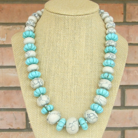 southwest inspired chunky magnesite necklace jewelry gift