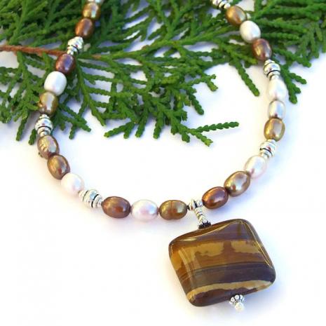 Petrified wood necklace.