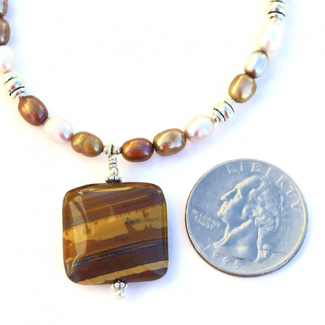 Unique petrified wood pendant necklace for her.