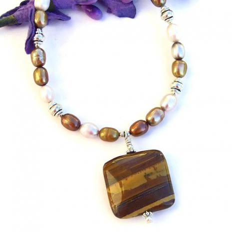 Handmade petrified wood pendant necklace gift idea.
