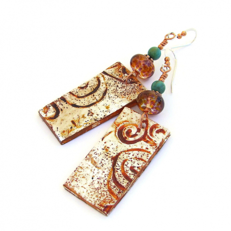southwest petroglyph spiral earrings with turquoise