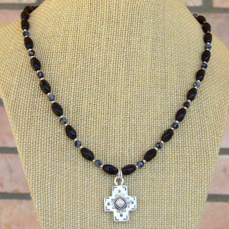 southwest pewter handmade cross necklace black onyx snowflake obsidian
