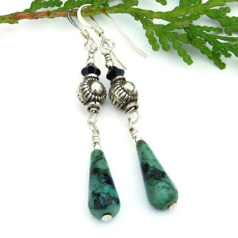 turquoise teardrop and sterling jewelry gift idea for women