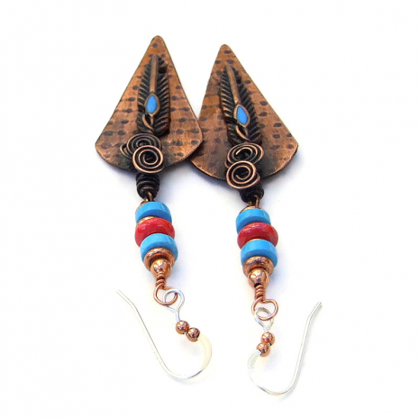 southwestern handmade copper feather jewelry turquoise coral