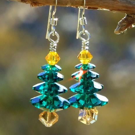 sparkling christmas tree earrings