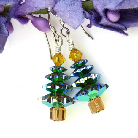 Sparkling Christmas tree earrings.