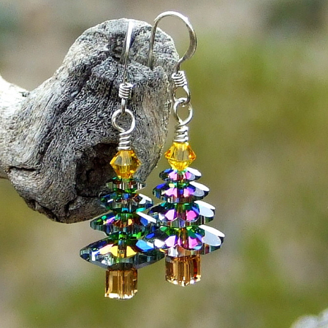 Medium vitrail Swarovski Christmas tree earrings.