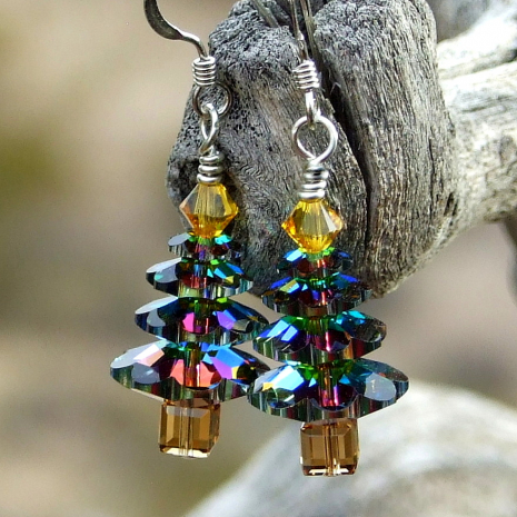 Swarovski crystal Christmas tree earrings.