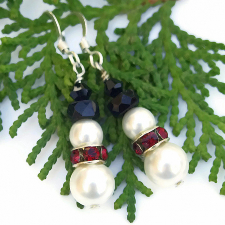 swarovski pearl snowmen christmas holiday earrings
