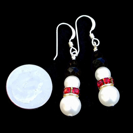 handmade snowman earrings jewelry for the christmas holidays