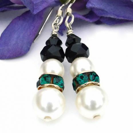 Snowmen earrings with green Swarovski crystal collars.