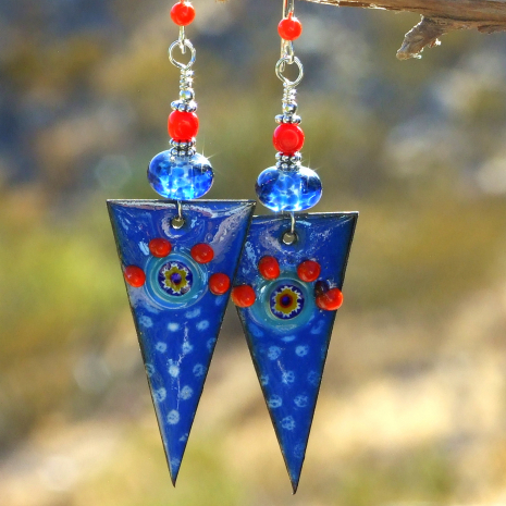 spike dagger handmade earrings blue red