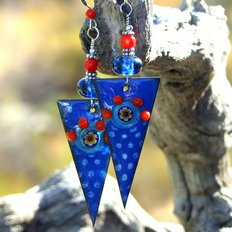 spike dagger handmade jewelry blue red