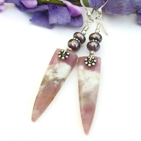 spike earrings with pink tourmaline and pearls