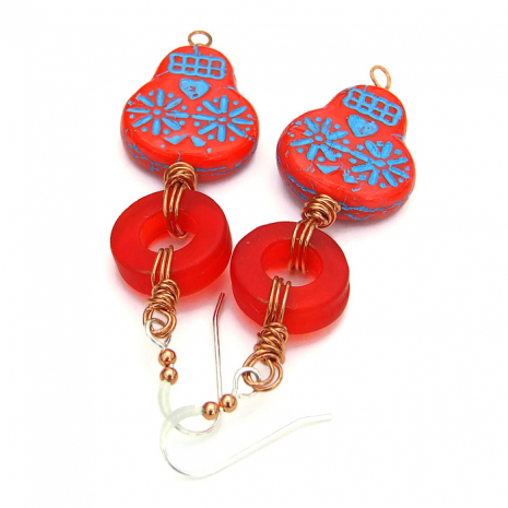 red and turquoise sugar skull earrings for Dia de los Muertos