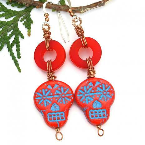 day of the dead sugar skull earrings gift for women