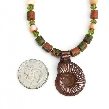 spiral ammonite pendant jewelry with gemstones