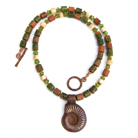 spiral ammonite pendant necklace with gemstones