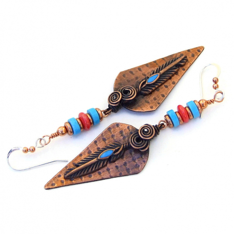 spiral copper feather earrings gift for her