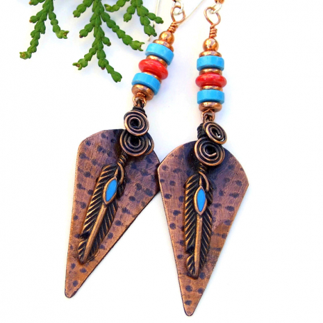 spiral copper feather jewelry gift for her