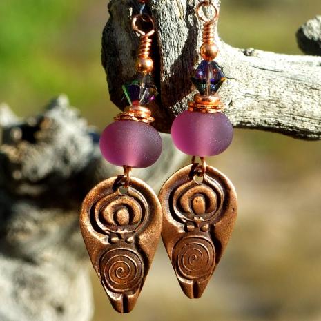 spiral goddess handmade earrings gift for women