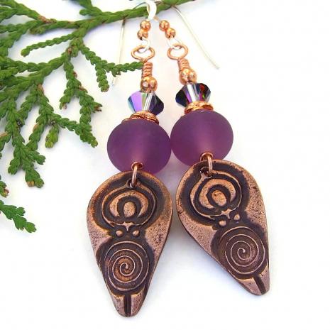 spiral goddess purple lampwork swarovski crystal jewelry