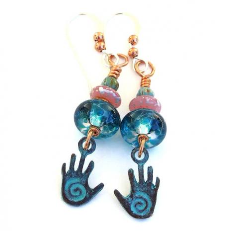 spiral hands earrings gift for women