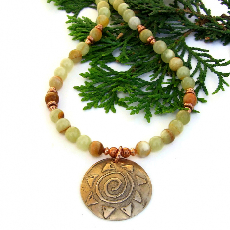 spiral sun bronze pendant and striped honey onyx gemstone necklace