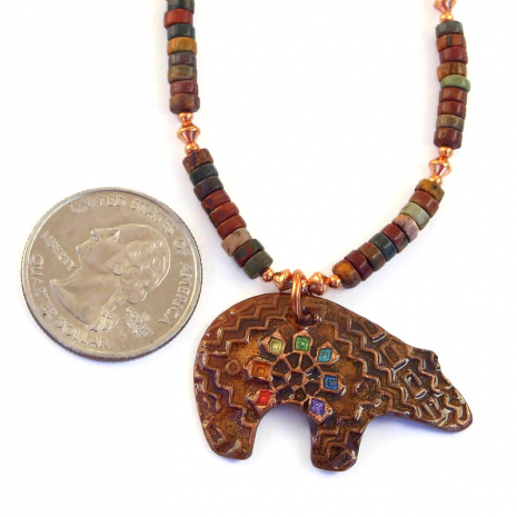 spirit bear pendant jewelry with red creek jasper