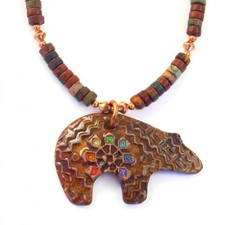 spirit bear pendant necklace with red creek jasper