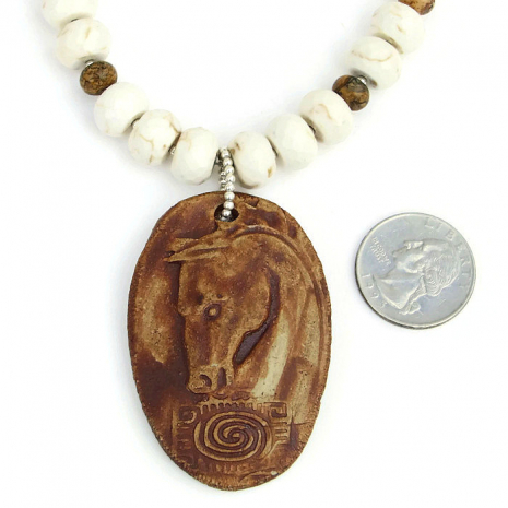 Totem horse pendant necklace - handmade horse jewelry.
