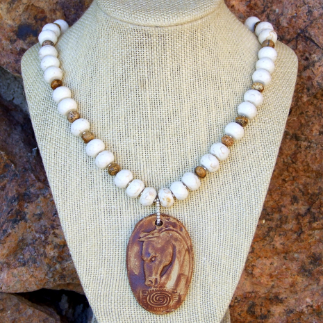 Handmade spirit horse pendant, magnesite and picture jasper artisan necklace.