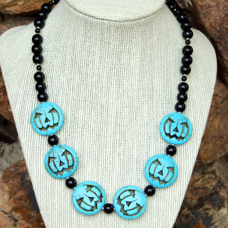 halloween jack o lantern necklace