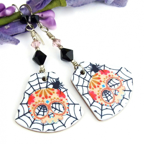 sugar skull, spider and spider web earrings