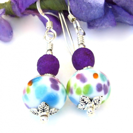 spotted aqua turquoise orange green pink purple lampwork earrings