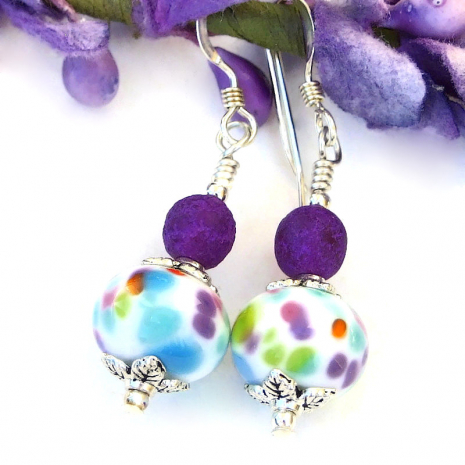 spotted aqua turquoise orange green pink purple lampwork jewelry