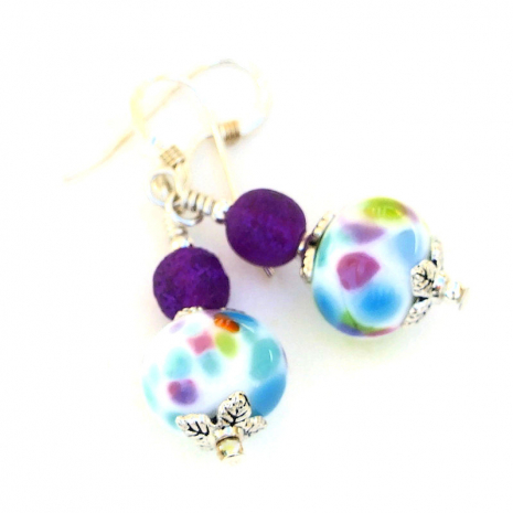 spotted colorful lampwork glass jewelry gift for women
