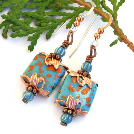 spotted copper on turquoise glass earrings gift for her