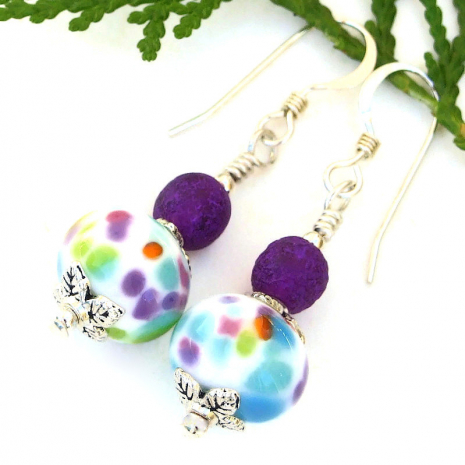 spotted handmade lampwork earrings with dark purple