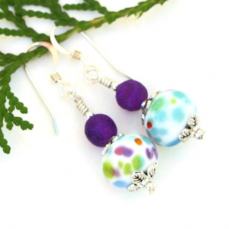 spotted handmade lampwork jewelry with dark purple