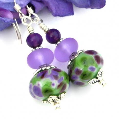 spotted purple green artisan lampwork jewelry