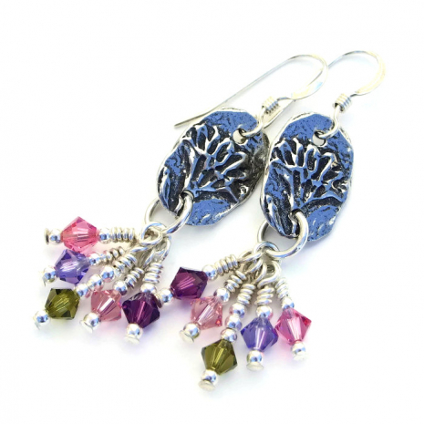 Unique flower earrings with Swarovski crystals.