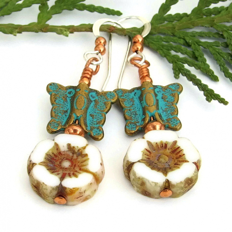 Flowers Butterflies Spring Earrings, Mykonos Copper Handmade Jewelry
