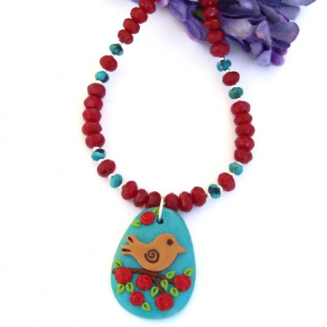 spring pendant necklace with birds and flowers