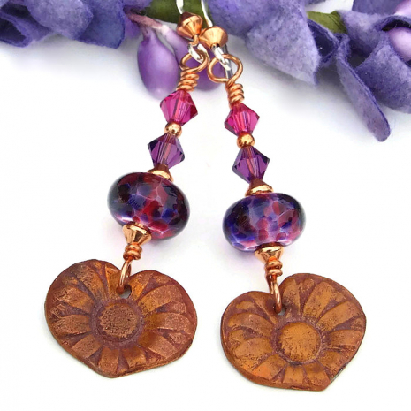 purple and pink flower earrings for her
