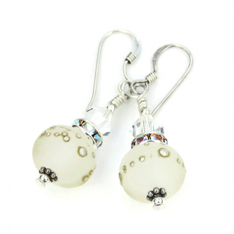 Frosted lampwork and crystal bridal earrings.