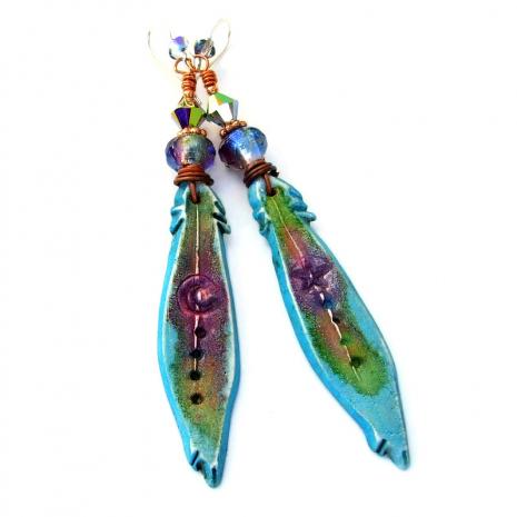 star moon feathers lightweight handmade boho earrings