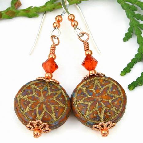 star of venus goddess symbol earrings swarovski crystals