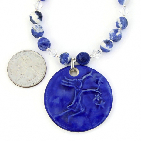 stars girl ceramic pendant jewelry gift for her