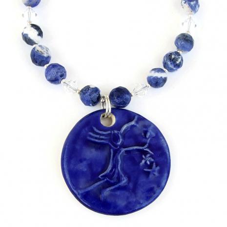 stars girl ceramic pendant necklace gift for her